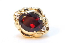 10K Yellow Gold Slide Bracelet Charm DDH Garnet & Diamond