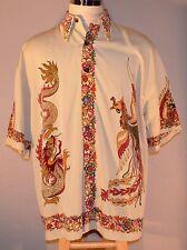 7 Diamonds Oriental Dragon Button Down Shirt L Large 100% Poly