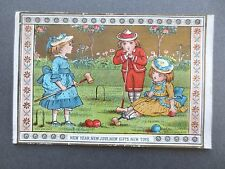 ANTIQUE New Year Greetings Card Marcus Ward Children Playing Croquet Victorian