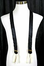 TRAFALGAR BLACK WHITE STRIPED SILK REAL LEATHER BUTTON Y-BACK SUSPENDERS (16U)