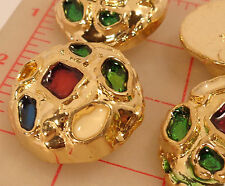 6 large gold plastic shank buttons multicolor enamel design irregular shape 1.5""