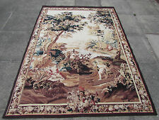 Hand Made French Design Original Wool Silk Brown Aubusson Tapestry 213X156cm