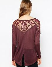 133318 Free People The Gatsby Long Sleeve Patchwork Blouse Tunic Top X Small XS
