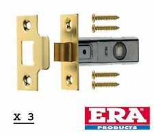 "3 x ERA 2.5 INCH 2.5"" (64mm)  TUBULAR MORTICE LATCH BRASS FINISH PACK OF 3 - NEW"