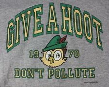 Give a Hoot Don't Pollute Owl 1970 Hoodie Sweatshirt Gray Size Small Vintage Ad