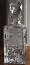 Deep Cut Etched Lead Crystal Czech Square Liquor Decanter & Stopper EUC 10 1/2""