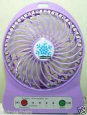 Portable Mini Rechargeable LED Light Fan With Battery & USB Cable(Violet