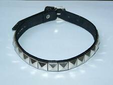 PYRAMID STUDDED REAL LEATHER CHOKER COLLAR EMO PUNK GOTHIC NEW
