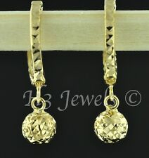 18k  solid yellow gold hoop earring earrings diamond cut ball kids cute #634