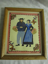 Original Painting of Amish Couple Pennsylvania Dutch by Edwina McMaster