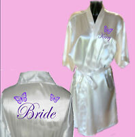 Personalised Butterfly Satin Wedding Robe / Dressing Gown - Bride Bridal Child's