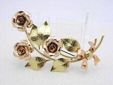 VTG Krementz DIANA Signed Gold Plated Large Rose Flower Brooch Pin