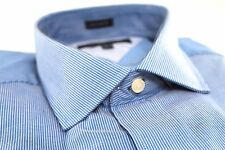 Mens Tommy Hilfiger Designer Dress Shirt 16.5 32/33 Blue White Stripe Regular