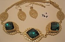 Necklace Earring Set Square Green Rhinestones  Filigree Cut-Out Link NWT L764