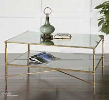 FORGED AGED GOLD LEAF IRON BASE MIRROR TOP GLASS SHELF COCKTAIL COFFEE TABLE