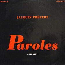 JACQUES PREVERT Paroles Extraits A Maurice Magne Lai FR Press Barclay 80 145 LP