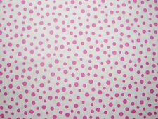 "Daisy Mae -Pink Spots on White 100% Cotton fabric Size 22"" x18"" larger available"