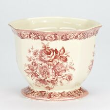 NEW Antique vintage style Porcelain Red cream flower Indoor plant Pot planter