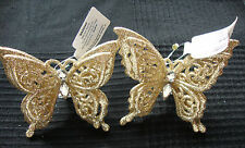 2 x Vintage style Christmas gold butterfly CLIPS PICK ornaments tree decorations