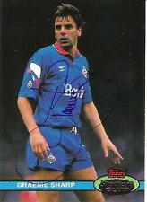 A Topps card Graeme Sharp at Oldham Athletic. Personally signed by him.