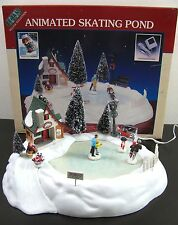 New Vtg Lemax Animated Skating Pond Hearthside Village 1995 Christmas Ice Skater