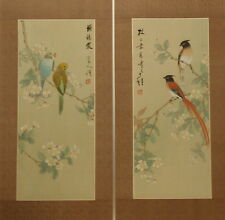 "Pair prunus blossom and birds Chinese painting on silk 24""x12""/18¾""x8"" FL038"