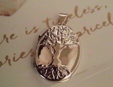 Solid 925 Sterling Silver Large Photo Locket Urn Tree Of Life Oval Pendant Gift