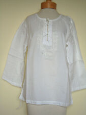 New_Lovely_Peasant_Boho_Embroidered Tunic_White Cotton Top_Shirt_S, M
