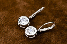 925 Sterling Silver Round White Topaz Zirconia Leverback Dangle Earrings 5mm