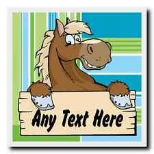 Cartoon Horse Stripy Personalised Drinks Mat Coaster