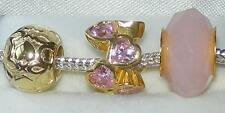 *New* set of 3 Rhona Sutton 925 gold plated sterling silver charm beads - hearts