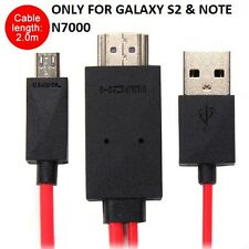 6FT/2M MHL Micro USB to HDMI HDTV Cable Adapter For Samsung Galaxy S2 & NOTE