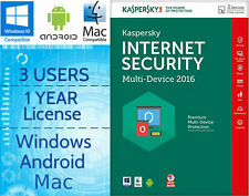 Kaspersky Internet Security 3 utenti 1 ANNO 2016 Multi-dispositivo di download chiave di licenza