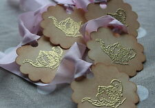 TEAPOT-Gold Embossed-Vintage Style Tags/Labels-Set of 5-Wedding-Favours-Unique
