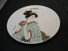vintage asian porcelain plate signed hand painted asian women artist signed