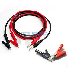 Power Multimeter Crocodile Test Cord Alligator Clip Banana Plug Cable 1M