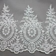 1 METRE WHITE BEADED BRIDAL LACE 375mm WIDTH TRIMMING WEDDING DRESS TRIM  HL2097