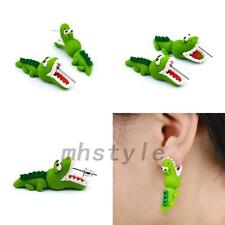 Adorable Cartoon 3D Animal Funny Open Mouth Crocodile Ear Stud Earring Costume