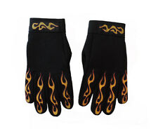 Motorcycle Mechanic Style Red & Yellow Flames Black Riding Gloves MEDIUM