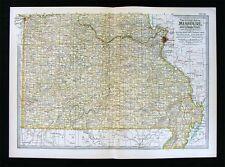 1902 Century Map S. Missouri St. Louis Springfield Branson Joplin Kennett Neosho