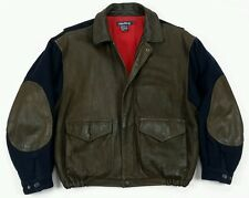 Vintage Nautica Mens Leather Brown Blue Heavy Collar Bomber Flight Jacket Large
