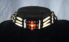 Handmade Native American Buffalo Bone Hairpipe Sun Choker Necklace NWOT