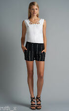"New EDUN Black Silk SIZE UK 6 Silver Studded Dress Shorts Womens Skirt 26"" US 2"