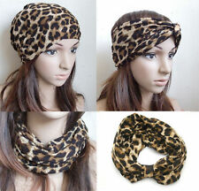 "10"" big leopard print headband headwrap Beanie double layered Headwear Turban"