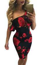 New hot sexy fashion women  ladies Red Rose Print Frill One Shoulder Midi Dress