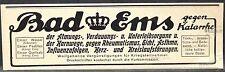 Emser Wasser,Kränchen,gegen Katarrhe,Husten,Rheumatismus,Ems,orig.Anzeige 1916