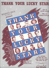 THANK YOUR LUCKY STARS 1943 Rare Title Song Sheet Music BOGART DAVIS DINAH SHORE