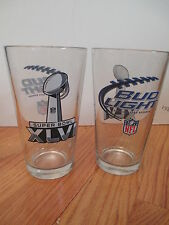 "SUPER BOWL XLVI Budweiser BUD LIGHT NE PATRIOTS vs NEW YORK GIANTS 6"" Beer Glass"