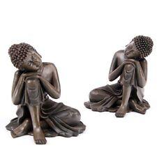 Duo de grands Bouddha penseurs effet bois