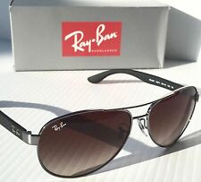 NEW* Ray Ban AVIATOR Silver Matte Black w Brown Gradient Sunglass RB 3457 133